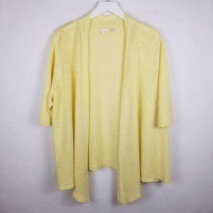 Eileen Fisher Woman Lemon 100% Linen Cardigan - 1X